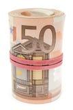 Rotolo di euro fatture Fotografie Stock