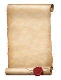 Rotolo di Parhment con la guarnizione reale della cera immagini stock libere da diritti