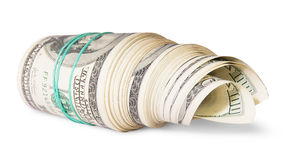 Rotolo di soldi dal lato Immagini Stock Libere da Diritti
