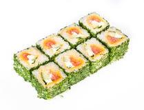 Rotolo di sushi con i verdi Fotografia Stock