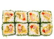 Rotolo di sushi con i verdi Fotografia Stock Libera da Diritti