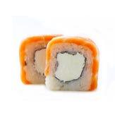 Rotolo di sushi con il salmone ed il formaggio di Philadelphia Fotografia Stock