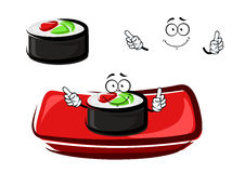 Rotolo di sushi del fumetto con il salmone affumicato ed il riso Immagini Stock