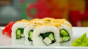 Rotolo di sushi dell'anguilla Fotografie Stock Libere da Diritti