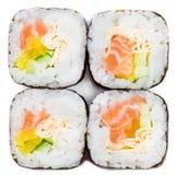 Rotolo di sushi fresco isolato su bianco Immagine Stock Libera da Diritti