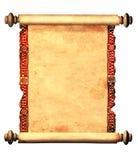 Rotolo di vecchia pergamena con l'ornamento decorativo Fotografia Stock