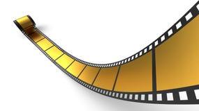 Rotolo dorato della pellicola negativa Fotografie Stock