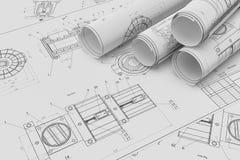 Rotolo e disegni tecnici piani Immagini Stock Libere da Diritti