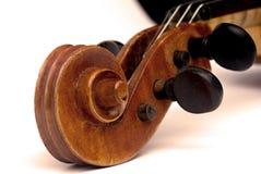 Rotolo e pegbox del violino Fotografia Stock