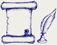 Rotolo e piuma della pergamena Fotografia Stock