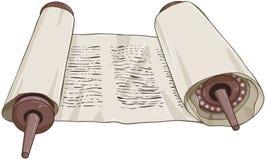 Rotolo ebreo tradizionale di Torah con testo Immagine Stock Libera da Diritti