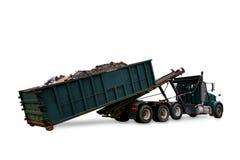 Rotolo fuori dal bidone della spazzatura del contenitore di rifiuti di caricamento del camion Immagini Stock