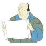 Rotolo giapponese asiatico del documento in bianco dell'uomo anziano Immagini Stock