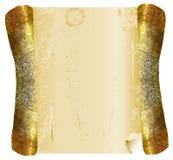 Rotolo incrinato dell'oro d'annata di pergamena Immagini Stock