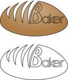 Rotolo minimalista con il logo del forno del panettiere dell'iscrizione Fotografia Stock Libera da Diritti