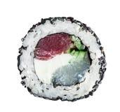Rotolo nero fatto con il tonno, pettine, cetriolo Fotografia Stock