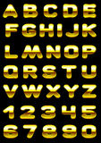 Roton g. Vector letters and figures with effect of gold Stock Photography