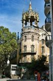 Rotonda of Barcelona. Diverse architecture of Barcelona, houses, churches, cathedrals, castles stock photography