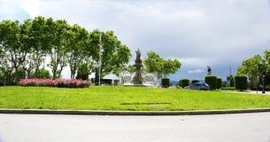 Rotonda con la fontana ornamentale in Montjuic fotografia stock