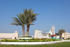 Rotonda del Kuwait nella città di Sharjah fotografia stock libera da diritti