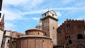 Rotonda di San Lorenzo church and Clock tower in Mantua, Italy.  Royalty Free Stock Images