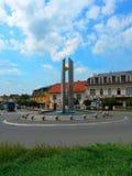 Rotonda in Luhacovice, plaza sul 28 ottobre quadrato, la repubblica Ceca fotografie stock