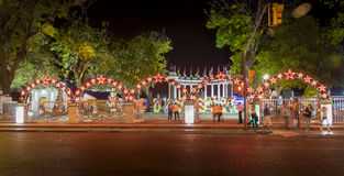 Rotonda Monument in Guayaquil with Christmas decorations at night. Guayaquil, Ecuador - December 10, 2014: A night scene of la Rotonda Monument at Malecon Simon Royalty Free Stock Image