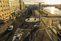 Rotonda a Vigo al tramonto fotografia stock