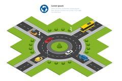 Rotonde, auto's, rotondeteken en rotondeweg Geasfalteerde Wegcirkel Vector isometrische illustratie voor Royalty-vrije Stock Foto's
