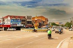 Rotonde in de stad van Thakhek in Laos royalty-vrije stock afbeeldingen