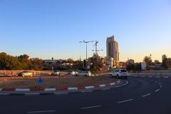 Rotonde en counstructionsplaatsen in Bier Sheva stock foto