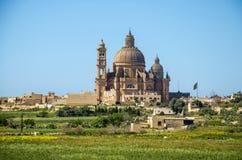 Rotonde St John Baptist Church in stadsdorp, Gozo-eiland, Ma royalty-vrije stock foto