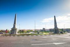Rotonde van de Piramides voor Toledo Bridge, Madrid royalty-vrije stock afbeeldingen