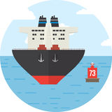 Rotondo con la nave da carico colorata, icona di logistica illustrazione vettoriale