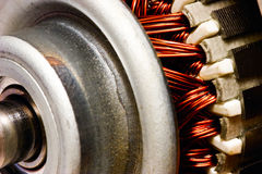Rotor. Electric motor rotor close-up, selective focus royalty free stock image