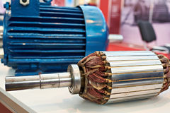 Rotor with copper winding electric motor Royalty Free Stock Images