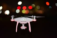 4 rotor drone take off from land and flying for take aerial phot Stock Photo