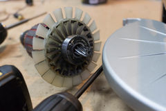 Rotor of electric motor spare parts. In power tool royalty free stock photography