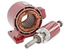 Rotor et redresseur de moteur électrique, d'isolement sur le fond blanc images libres de droits