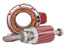 Rotor i stojan elektryczny silnik odosobneni na białym tle, zdjęcia stock