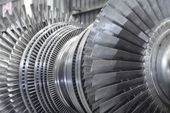 Rotor of a steam turbine. Internal rotor of a steam Turbine at workshop Stock Photography