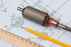 Rotor von Electromotor und von Zeichnung Lizenzfreies Stockbild