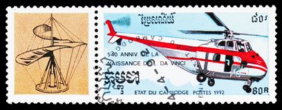 A rotorcraft, Leonard da Vinci serie, circa 1992. MOSCOW, RUSSIA - OCTOBER 6, 2018: A stamp printed in Kampuchea (Cambodia) shows A rotorcraft, Leonard da Vinci royalty free stock photo