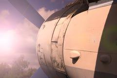 Rotorcraft på solnedgången Arkivbilder