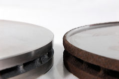 Rotores novos e velhos do freio de disco fotografia de stock royalty free
