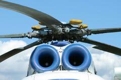 Rotors et engines de l'hélicoptère russe MI-8 Images libres de droits