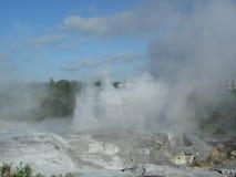 Rotorua Geysir por la mañana Fotos de archivo libres de regalías