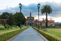 Rotorua museum and garden at sunrise, New Zealand Royalty Free Stock Image