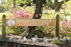 Signpost for the Quota Scented Garden. Rotorua, New Zealand - October 16, 2018: Signpost for the Quota Scented Garden donated by the blind for the enjoyment of royalty free stock image