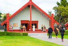 ROTORUA, NEW ZEALAND - OCTOBER 10, 2018: Tamaki Maori dancers in traditional dress at Whakarewarewa Thermal Park stock photography